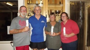 14 March 2014 - Corporate Bowls Gold runner-up Hardware 10 Team - l to r Kevin Shelton, Wayne Barnes, Kath Shelton & Amanda Barnes.