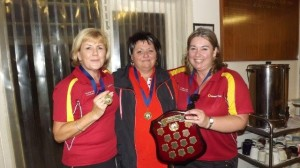 14 March 2014 - Corporate Bowls Gold Division Shield Winners - Bendigo Community Bank Team - l to r Angela Fleischer, Jo Martin & Tarie Mills.